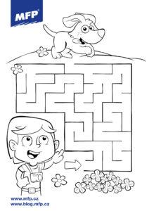 Jednoduché bludiště pro děti k vytisknutí - pes a dívka