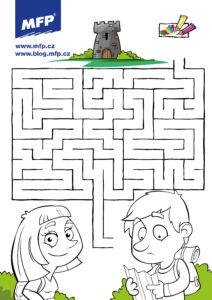 Jednoduché bludiště pro děti k vytisknutí - chlapec a dívka