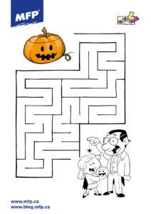 Jednoduché bludiště pro děti k tisku- halloween
