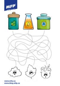 Jednoduché bludiště pro děti k vytisknutí - živly